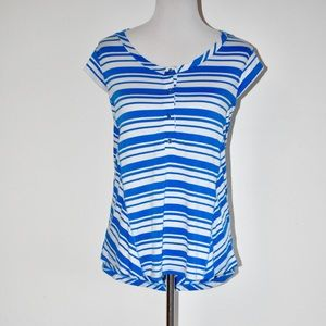 NWT Pleione Blue & White Stripe Henley Blouse XL